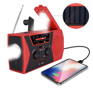 Solar Crank AM/FM/NOAA Weather Radio,Flashlight,reading lamp & power bank 2000mah