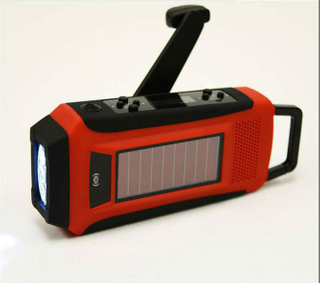 Solar crank digital AM/FM NOAA Radio flashlight charger with LCD display